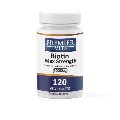 Biotin Max Strength, 10000µg x 120 Vegetarian Tablets  - Hair, Skin & Nails Vitamins & Supplements UK