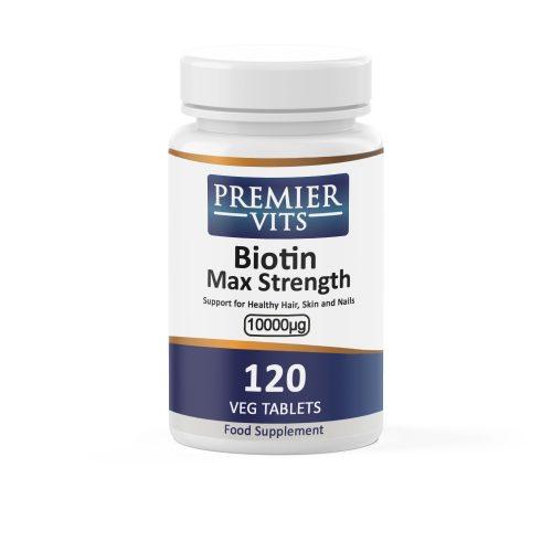 Biotin, Max Strength, 10 000mcg x 120VTabs  - Colds & Flu Vitamins & Supplements UK