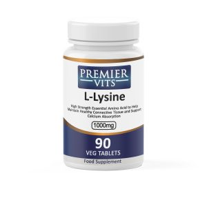 L-Lysine, 1000mg x 90 Veg Tablets  - Cold Sores & Herpes Vitamins & Supplements UK