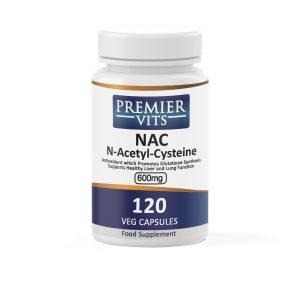 NAC (N-Acetyl-Cysteine),  600mg x 120 Vegetarian Capsules  - Antioxidant Vitamins & Supplements UK