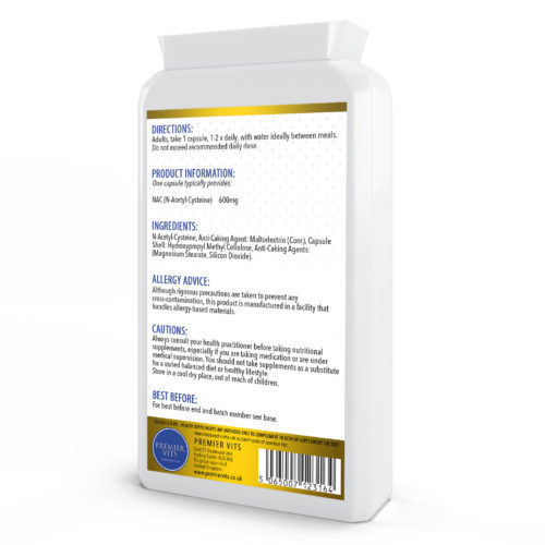 NAC N-Acetyl-Cysteine, 600mg 120 Capsules  - Antioxidant Vitamins & Supplements UK