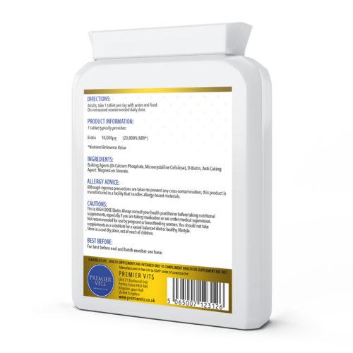 Biotin 10000µg, 120 Tablets  - Colds & Flu Vitamins & Supplements UK