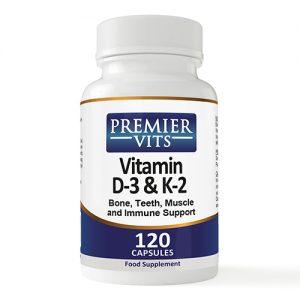 Vitamin D-3 & K-2 - 1000iu/45mcg - 120 Capsules